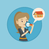 Woman looking for house vector illustration. Stock Photo