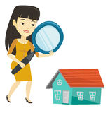 Woman looking for house vector illustration. Royalty Free Stock Photo
