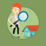Woman looking for house vector illustration. Royalty Free Stock Image