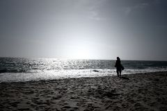 A woman looking at infinite horizon on a bright sunny day at a seashore Stock Photography