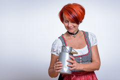 Woman Looking Inside the Can Container Stock Images
