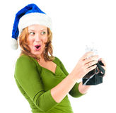 Woman looking inside gift bag Stock Photography