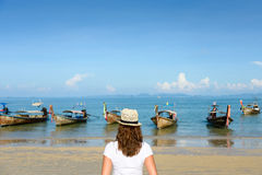 Woman looking the Krabi sea at Thailand Stock Photos