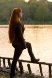 Woman looking at the lake Royalty Free Stock Image
