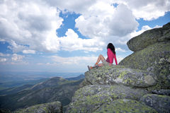 Woman looking at landscape in Avila Stock Images