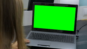 Woman looking at laptop with green screen. Business, communication, freelance and internet concept Stock Photos