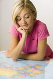Woman Looking at Map Royalty Free Stock Photo