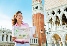 Woman looking at map in venice, italy Royalty Free Stock Photography