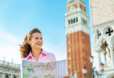 Woman looking at map in venice Royalty Free Stock Photography