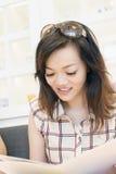 Woman looking the menu Stock Photos