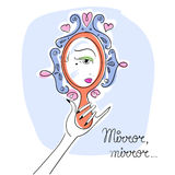 Woman looking in the mirror. Line art illustration vector eps 10 Royalty Free Stock Photo