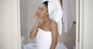 Woman Looking On The Mirror After Shower Stock Image
