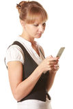 Woman looking into mobile screen Royalty Free Stock Photography