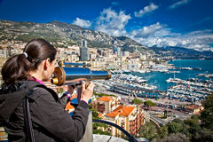 Woman looking at  Monte Carlo in Monaco. Stock Photo