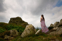 Woman looking at mountain Royalty Free Stock Images
