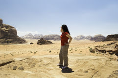 Woman looking at mountains Royalty Free Stock Photos