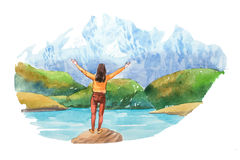 Woman looking at natural landscape in the Alps with lake and mountain tops watercolor illustration. Woman looking at natural landscape in the Alps with lake and Royalty Free Stock Photo