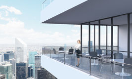 A woman is looking at New York. Royalty Free Stock Photo