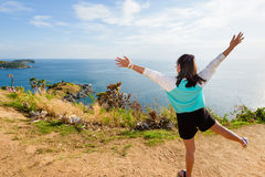 Woman looking ocean views and expressions of joy Stock Photo