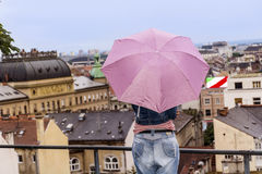 Woman looking at the  old town cityscape view in Zagreb Stock Images