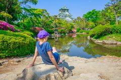 Tourist at Osaka Castle Royalty Free Stock Images