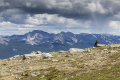 Woman Looking Out Over a Mountain Valley - Alberta, Canada Royalty Free Stock Photos