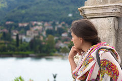 Woman looking over Lake Maggiore Stock Photo