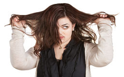 Woman Pulling Messy Hair Royalty Free Stock Photo