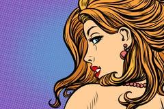 Woman looking over shoulder. Pop art retro comic book cartoon drawing vector illustration kitsch vintage Royalty Free Stock Photo