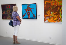 Woman looking at the painting in the gallery Danubiana, Bratislava - Slovakia stock image