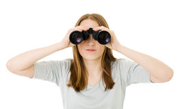 Woman looking into pair of glasses Stock Image