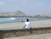 Woman looking the panorama in Cerro Azul Royalty Free Stock Photography