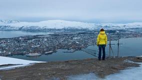 Woman looking at panorama Tromso Stock Images