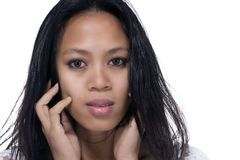 Woman looking pensive Stock Photo