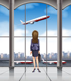 Woman looking at the plane taking off. Illustration stock illustration