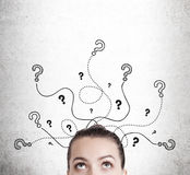 Woman looking at question  marks Royalty Free Stock Photography