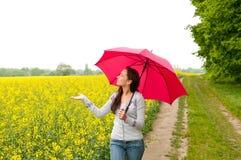 Woman looking for rain Stock Photos