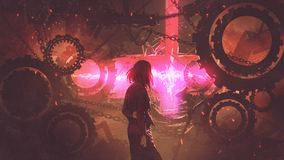 Woman looking at the red light through gears. Back view of woman standing in old factory looking at the red light through gears, digital art style, illustration vector illustration