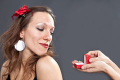Woman looking at the ring Royalty Free Stock Image