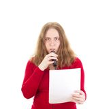 Woman looking scared. Beautiful woman looking scared at presentation Royalty Free Stock Photo