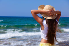 Woman is looking at the sea Stock Image