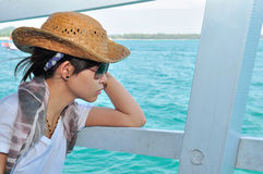 Woman looking at sea Stock Images