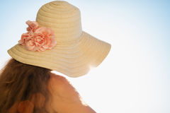 Woman looking on sea from balcony Royalty Free Stock Photo