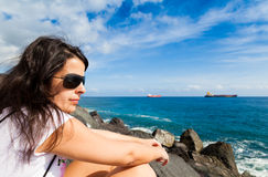 Woman Looking at Sea stock photo