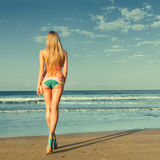 Woman looking at sea. Young woman looking at tropical sea. Rear view outdoor Royalty Free Stock Photo