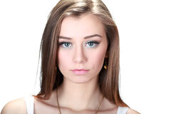 Woman looking serious Royalty Free Stock Photography