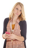 Woman looking side with phone text stock images
