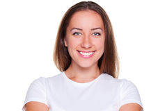 Woman looking and smiling Stock Image