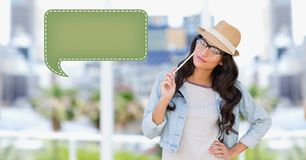 Woman looking at speech bubble icon Stock Image