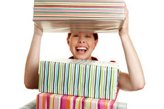 Woman looking through stack Royalty Free Stock Photo